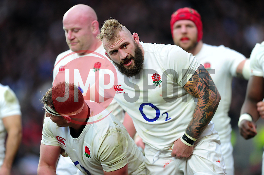 Joe Marler of England looks on at a scrum - Mandatory byline: Patrick Khachfe/JMP - 07966 386802 - 26/02/2017 - RUGBY UNION - Twickenham Stadium - London, England - England v Italy - RBS Six Nations Championship 2017.