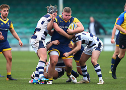 Lewis Holsey (Solihull School) of Worcester Warriors Under 18s is tackled - Mandatory by-line: Robbie Stephenson/JMP - 14/01/2018 - RUGBY - Sixways Stadium - Worcester, England - Worcester Warriors Under 18s v Yorkshire Carnegie Under 18s - Premiership Rugby U18 Academy