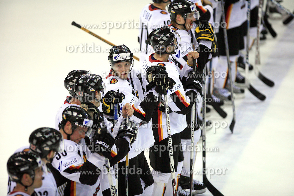 German Team after ice-hockey game Canada vs Germany in Qualifying Round Group F, at IIHF WC 2008 in Halifax,  on May 10, 2008 in Metro Center, Halifax, Nova Scotia,Canada. Canada won 11:1. (Photo by Vid Ponikvar / Sportal Images)