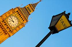 Big Ben and Taxi Signpost, London, England