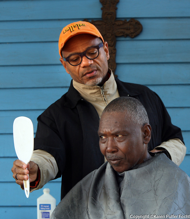 Earnest Malone gets a shave and a haircut by Grammy award winning jazz saxophone player Kirk Whalum. Whalum volunteers his time each week, when he is not touring,  to give a shave and a hair cut to homeless men and women in Memphis. Three days per week, the Manna House opens their doors to provide hospitality, showers and clean clothes to the poor and homeless in Memphis.
