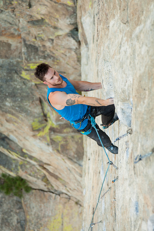Sam Tucker Climbing Air Test, 5.13a at Skaha Bluffs in Penticton, BC