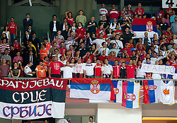 Fans of Serbia during the second semifinal basketball match between National teams of Serbia and Turkey at 2010 FIBA World Championships on September 11, 2010 at the Sinan Erdem Dome in Istanbul, Turkey. Turkey defeated Serbia 83 - 82 and qualified to finals.  (Photo By Vid Ponikvar / Sportida.com)