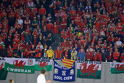 TBILSI, GEORGIA - Friday, October 6, 2017: Wales supporters with a flag of independent Cataluña during the 2018 FIFA World Cup Qualifying Group D match between Georgia and Wales at the Boris Paichadze Dinamo Arena. (Pic by David Rawcliffe/Propaganda)
