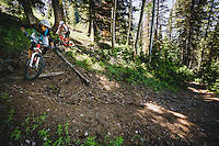Syd Schulz and Macky Franklin enjoying the trails at Deer Valley Resort, Wasatch Range, Utah.