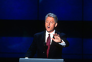 U.S President Bill Clinton addresses supporters as he accepts the nomination for the democrat party at the 1996 Democratic National Convention August 29, 1996 in Chicago, IL.