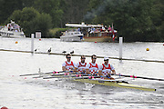 Henley, Great Britain.  Henley Royal Regatta. M4X, Queen Mother Challenge Cup, CARC Mladost and RC Tresnjevka, CRO, race along the Booms, in their Semi-Final. River Thames Henley Reach.  Royal Regatta. River Thames Henley Reach.  Saturday  02/07/2011  [Mandatory Credit  Intersport Images] . HRR