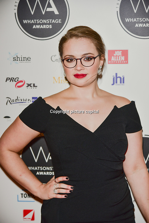 Carrie Hope Fletcher Arriver at the 18th Annual WhatsOnStage Awards 2018 at Prince of Wales Theatre on 25 Feb 2018, London, UK