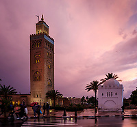 MARRAKESH, MOROCCO - CIRCA APRIL 2017: View of the Koutoubia Mosque minaret at dusk in Marrakesh