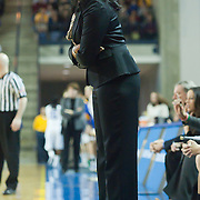 Northeastern Head Coach Daynia La-Force standing on sidelines in first half of an NCAA college basketball game against Delaware Sunday, Feb. 26, 2012 at the Bob Carpenter Center in Newark, Del.
