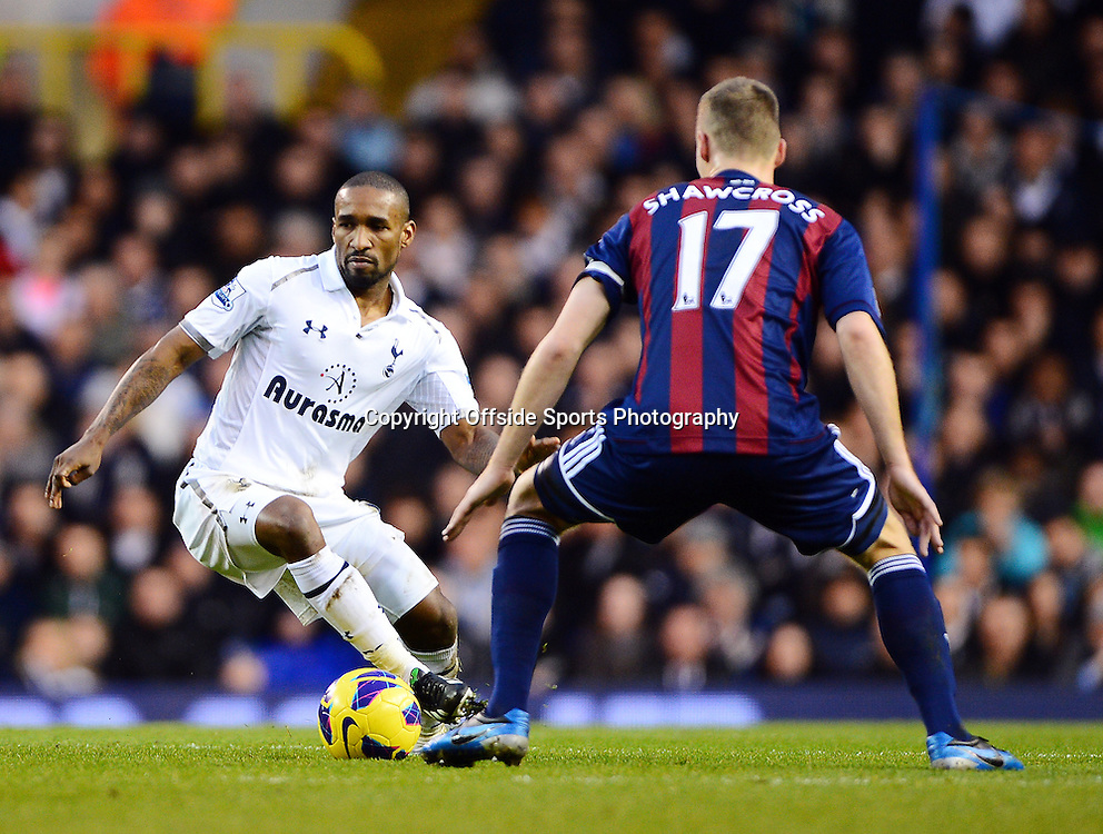 22nd December 2012 - Barclays Premier League - Tottenham Hotspur v Stoke City - Jermain Defoe of Tottenham Hotspur in action with Ryan Shawcross of Stoke City - Photo: Marc Atkins / Offside.