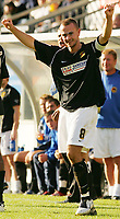 Photo: Frances Leader.<br />Wycombe Wanderers v Chester City. Coca Cola League 2.<br />01/10/2005.<br /><br />Chester's captain Michael  Branch celebrates his second gaol against Wycombe.