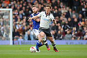 Fulham midfielder and captain, Scott Parker (08) battling for ball with Cardiff City midfielder, Aron Gunnarsson (17) during the Sky Bet Championship match between Fulham and Cardiff City at Craven Cottage, London, England on 9 April 2016. Photo by Matthew Redman.