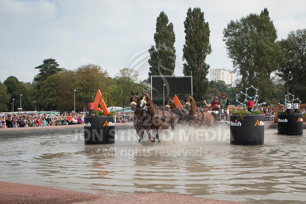 Chester Weber, (USA), Boris W, Boy W, Para, Splash, Uniek - Driving Marathon - Alltech FEI World Equestrian Games&trade; 2014 - Normandy, France.<br /> &copy; Hippo Foto Team - Dirk Caremans<br /> 06/09/14