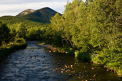 The Percy Peaks rise above Nash Stream in Stark, New Hampshire.