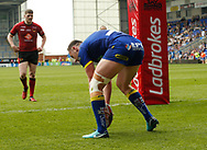 Ben Currie of Warrington Wolves  scores his 2nd try of the match against Bradford Bulls during the Ladbrokes Challenge Cup match at the Halliwell Jones Stadium, Warrington<br /> Picture by Stephen Gaunt/Focus Images Ltd +447904 833202<br /> 21/04/2018