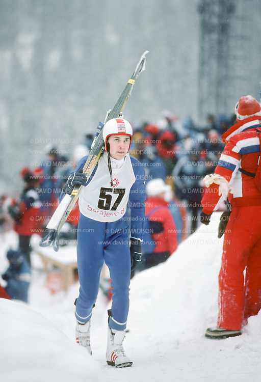 SARAJEVO, YUGOSLAVIA -  FEBRUARY 12:  Matti Nykanen #57 of Finland competes in the 70 Meter Ski Jumping event of the 1984 Winter Olympics on February 12, 1984 at Igman Malo Polje near Sarajevo, Yugoslavia.  Nykanen was the silver medalist in the event.  (Photo by David Madison/Getty Images)