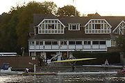 Henley on Thames,  Boats, boating from Leander club, for an early morning training session on the River Thames at Henley 07/10/2006.  Photo, Peter Spurrier/Intersport-images]. Sun rising over Leander Club.