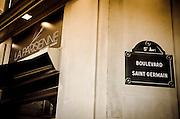 Street sign and bakery, Boulevard Saint-Germain, Left Bank, Paris, France
