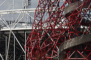 Landscape of 2012 Olympic construction site showing The Orbit art tower and the main stadium at Stratford.