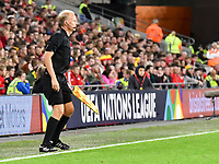 Football - 2018 / 2019 UEFA Nations League B - Group Four: Wales vs. Republic of Ireland<br /> <br /> Assistant referee Nicolas Dandos beside  behind hoarding for UEFA NATIONS LEAGUE , at Cardiff City Stadium.<br /> <br /> COLORSPORT/WINSTON BYNORTH