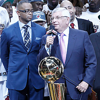 21 June 2012: NBA Commissioner David Sern makes his speech after the Miami Heat 121-106 victory over the Oklahoma City Thunder, in Game 5 of the 2012 NBA Finals, at the AmericanAirlinesArena, Miami, Florida, USA. The Miami Heat wins the series 4-1.
