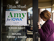 08 NOVEMBER 2019 - DES MOINES, IOWA: US Senator AMY KLOBUCHAR (D-MN) walks into a campaign event at a bakery in Ankeny, IA. Sen. Klobuchar is campaigning to be the Democratic nominee for the US Presidency. Iowa holds the first selection event of the Presidential election cycle. The Iowa caucuses are Feb. 3, 2020.          PHOTO BY JACK KURTZ