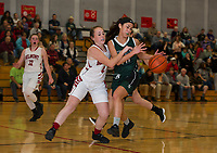 Belmont's Lizzie Fleming pressures Newfound's Savanna Bony during game one of the season for NHIAA Division III basketball at Belmont High School Friday evening.  (Karen Bobotas/for the Laconia Daily Sun)