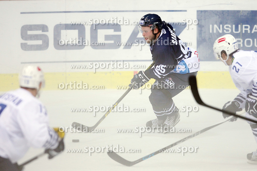28.08.2015, Dom Sportova, Zagreb, CRO, KHL League, KHL Medvescak vs Admiral Vladivostok, 2. Runde, im Bild Jesse Saarinen. // during the Kontinental Hockey League, 2nd round match between KHL Medvescak and Admiral Vladivostok at the Dom Sportova in Zagreb, Croatia on 2015/08/28. EXPA Pictures &copy; 2015, PhotoCredit: EXPA/ Pixsell/ Goran Jakus<br /> <br /> *****ATTENTION - for AUT, SLO, SUI, SWE, ITA, FRA only*****