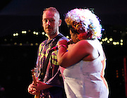 Simon Ratcliffe and Vula Malinga of the Basement Jaxx perform during the 30th Anniversary season of Central Park SummerStage in Rumsey Playfield in New York City, New York on July 01, 2015.