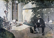 The Good Bourgeois'  (middle-class) after Henri Brispot (1846-1928).  Frenchman sits in his town garden while bricklayers work on garden step. From 'Le Petit Journal', Paris, 17 May 1893. France, Class, Labourer, Bourgeoisie