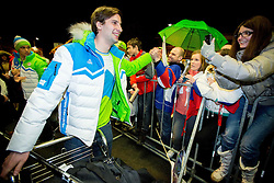 Blaz Gregorc, ice hockey player at reception of Slovenia team arrived from Winter Olympic Games Sochi 2014 on February 19, 2014 at Airport Joze Pucnik, Brnik, Slovenia. Photo by Vid Ponikvar / Sportida