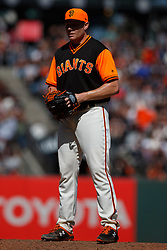 SAN FRANCISCO, CA - AUGUST 26: Mark Melancon #41 of the San Francisco Giants stands on the pitchers mound against the Texas Rangers during the ninth inning at AT&T Park on August 26, 2018 in San Francisco, California. The San Francisco Giants defeated the Texas Rangers 3-1. All players across MLB will wear nicknames on their backs as well as colorful, non-traditional uniforms featuring alternate designs inspired by youth-league uniforms during Players Weekend. (Photo by Jason O. Watson/Getty Images) *** Local Caption *** Mark Melancon