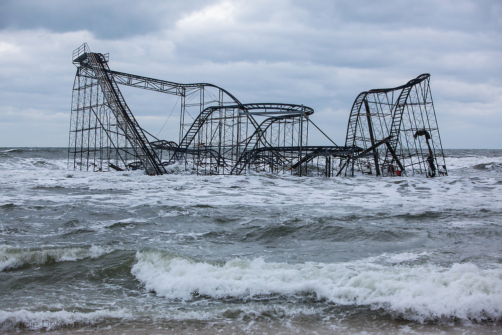 Seaside Hiehgts, NJ, November 18- Roller coaster that used to be on the boardwalk, now in the Atlatnic Ocean. Superstorm Sandy's surge caused billions of dollars of damage to the tri-state area. The Mayor is considerring leaving the roller coaster where  Sandy pushed it as a tourist attraction.