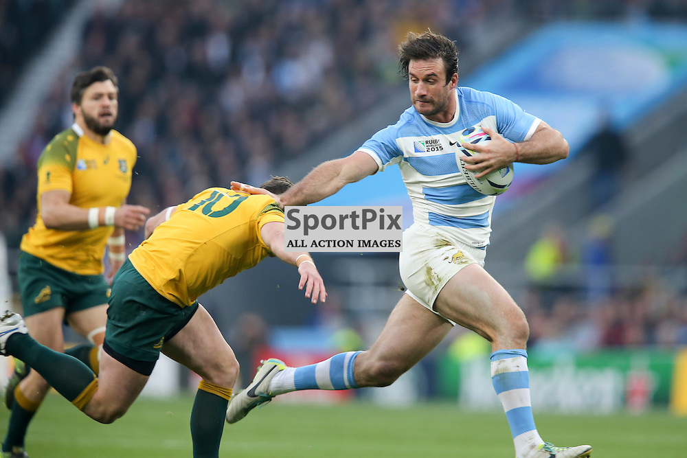 TWICKENHAM, ENGLAND - OCTOBER 25: Marcelo Bosch of Argentina is tackled by Bernard Foley of Australia during the 2015 Rugby World Cup semi-final two match between Argentina and Australia at Twickenham Stadium, London on October 25, 2015 in London, England. (Credit: SAM TODD | SportPix.org.uk)