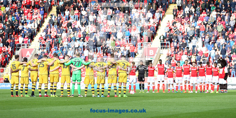 Both teams hold a minutes silence prior the Sky Bet Championship match at the New York Stadium, Rotherham<br /> Picture by James Wilson/Focus Images Ltd 07709 548263<br /> 01/04/2017