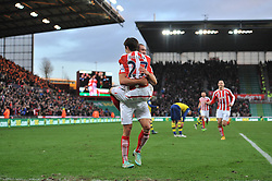 Stoke's Bojan Krkic celebrates his goal with Stoke's Jonathan Walters - Photo mandatory by-line: Dougie Allward/JMP - Mobile: 07966 386802 - 06/12/2014 - SPORT - Football - Stoke - Britannia Stadium - Stoke City v Arsenal - Barclays Premie League