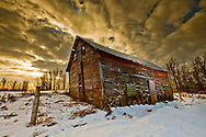 Red Barn with Dramatic Sunset Sky, Alberta Canada