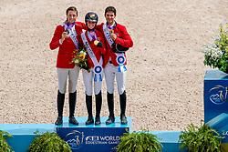 Individual podium, Blum Simone, Fuchs Martin, Guerdat Steve<br /> World Equestrian Games - Tryon 2018<br /> © Hippo Foto - Dirk Caremans<br /> 23/09/2018