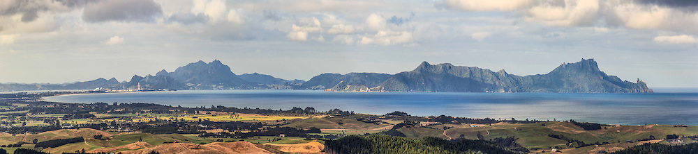 Bream Bay from the top of the Brynderwyns, the Whangarei Heads stretch out across the horizon, available in canvas or print:<br />
