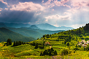 Small village in Rhodope Mountains at spring time