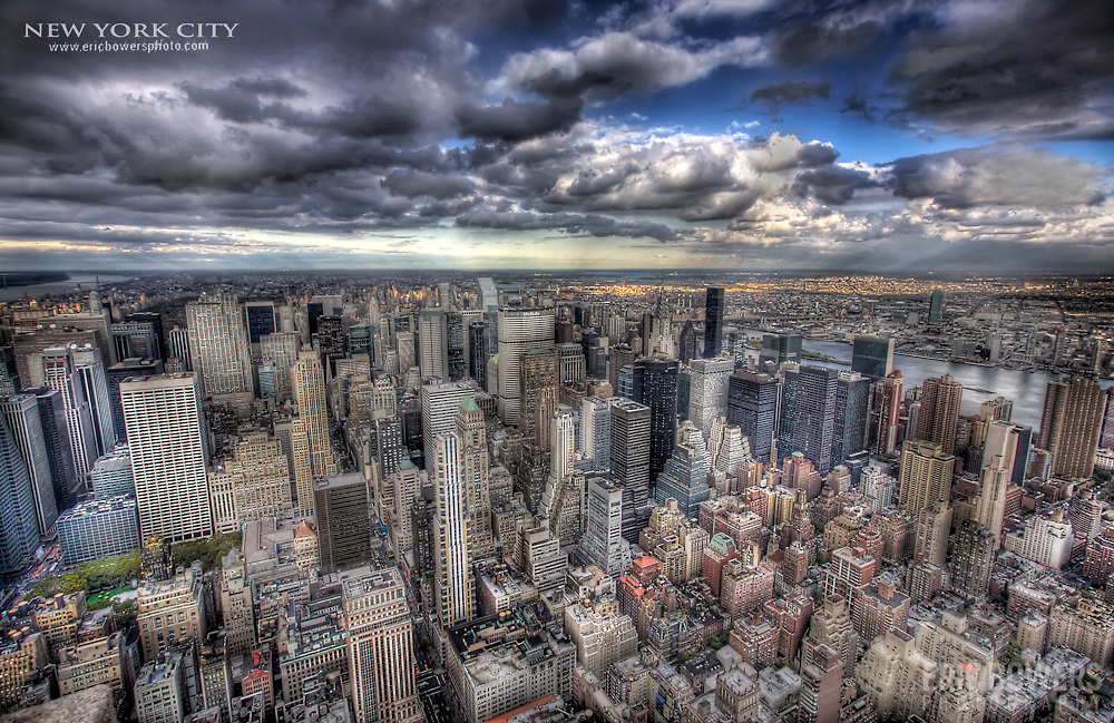 A colorful tone mapped look at Manhattan. Photo taken from the observation deck at the Empire State Building