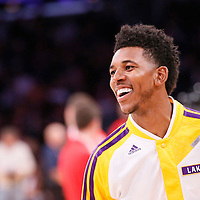 08 December 2013: Los Angeles Lakers small forward Nick Young (0) warms up prior to the Toronto Raptors 106-94 victory over the Los Angeles Lakers at the Staples Center, Los Angeles, California, USA.