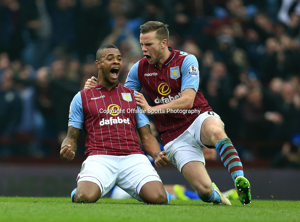 15th February 2015 - FA Cup 5th Round - Aston Villa v Leicester City - Leandro Bacuna of Aston Villa celebrates after opening the scoring (1-0)  - Photo: Paul Roberts / Offside.