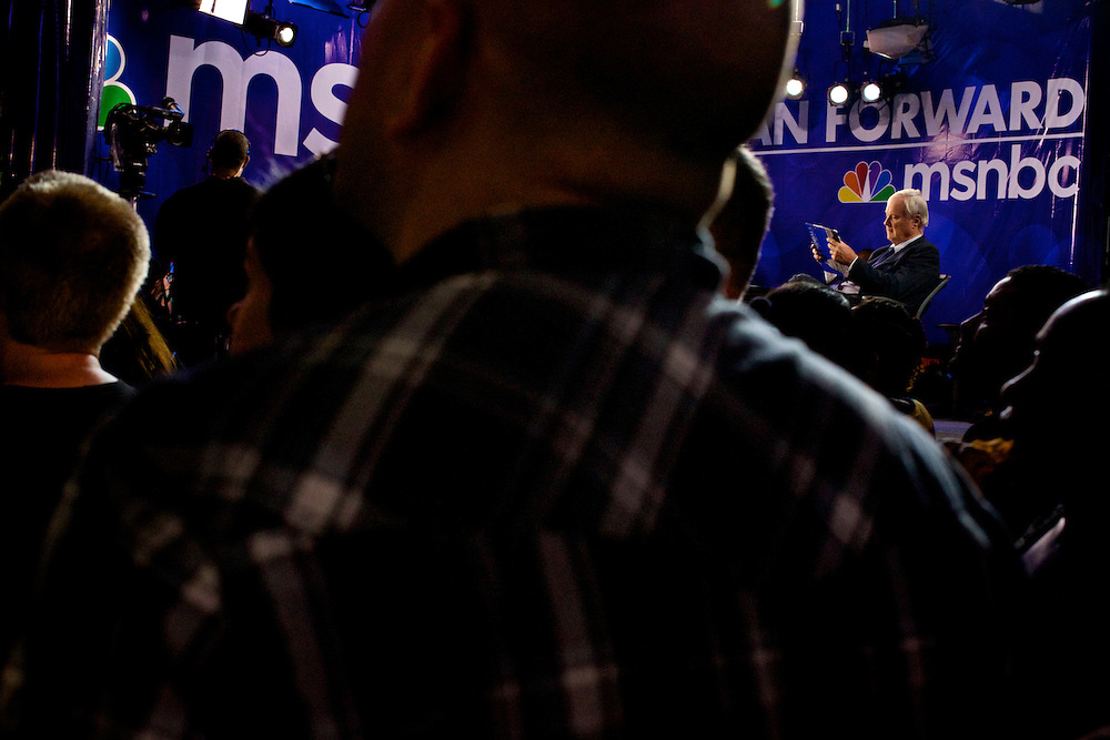 MSNBC's Chris Matthews reads along to President Bill Clinton's speech in Charlotte, NC during the 2012 Democratic National Convention on Sept. 5, 2012.