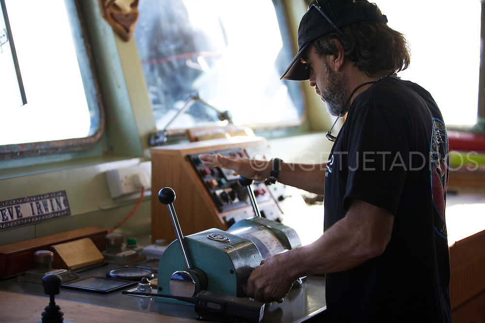 Karlos Bueno, first Officer on the Seashepherd, reading a radar.<br />