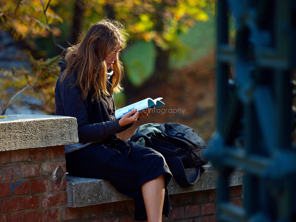 A tourist reading a guide in a park, Budapest, Hungary.