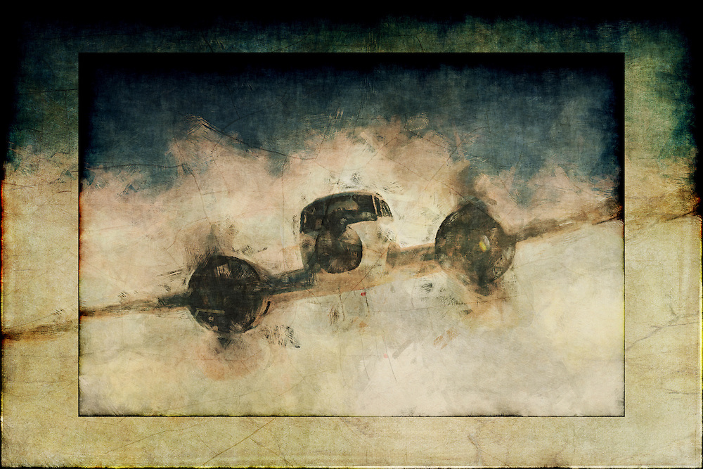 A painting of a Beechcraft flying