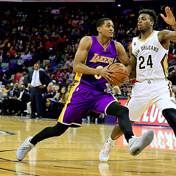 Nov 12, 2016; New Orleans, LA, USA;  Los Angeles Lakers guard Jordan Clarkson (6) drives past New Orleans Pelicans guard Buddy Hield (24) during the first half of a game at the Smoothie King Center. Mandatory Credit: Derick E. Hingle-USA TODAY Sports