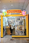 Money Exchange booth, Israel, Haifa interior of a shopping mall